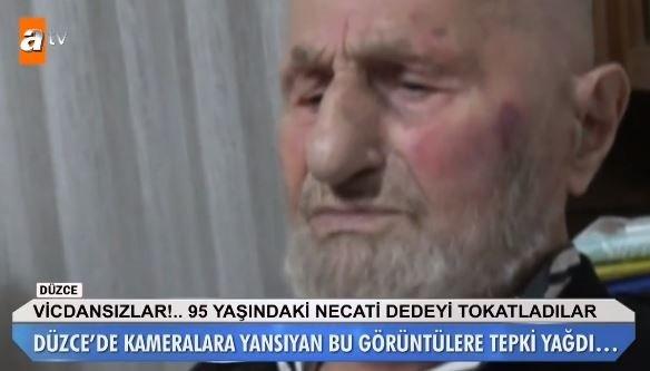 95 yaşındaki Necati Dede'ye tokat attılar!